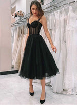 Simple black tulle short prom dress, homecoming dress
