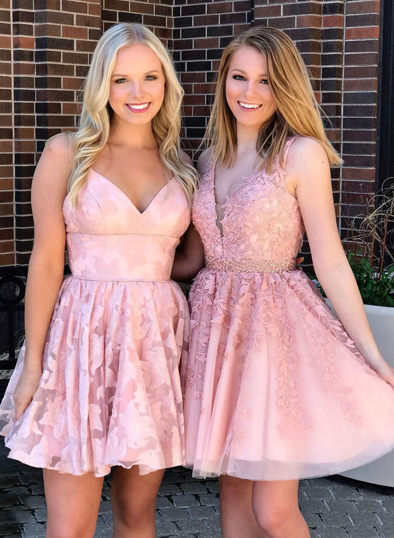 Pink v neck tulle lace short prom dress, homecoming dress