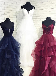 Custom made v neck tulle long prom dress, evening gown