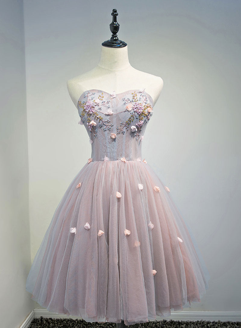 Lovely tulle lace short prom dress, evening dress