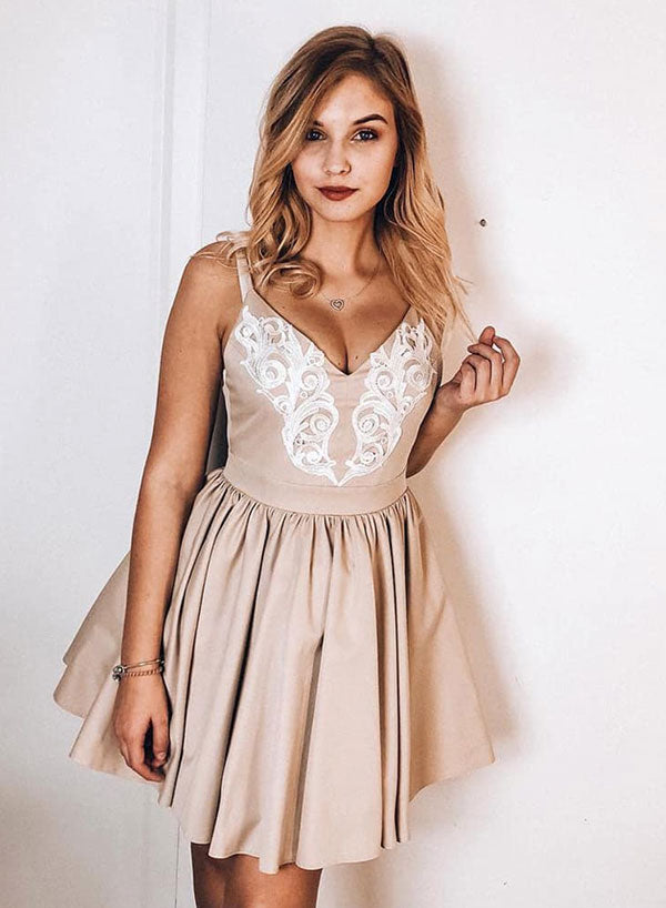 Cute v neck champagne lace short prom dress, homecoming dress