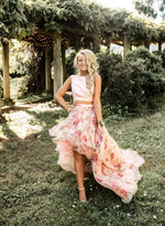 Pink tulle floral pattern long prom dress, two pieces evening dress