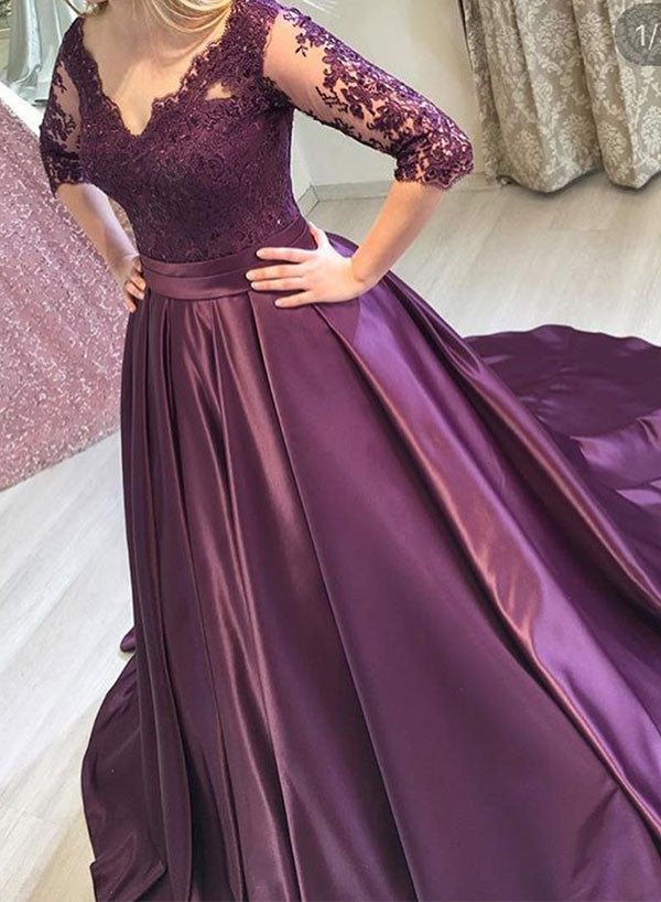 Purple v neck lace long prom dress, long sleeve evening dress