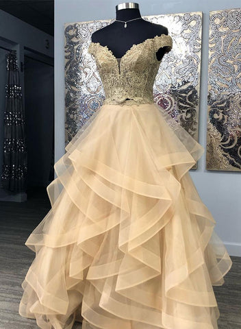 Gold lace two pieces long prom dress, evening dress