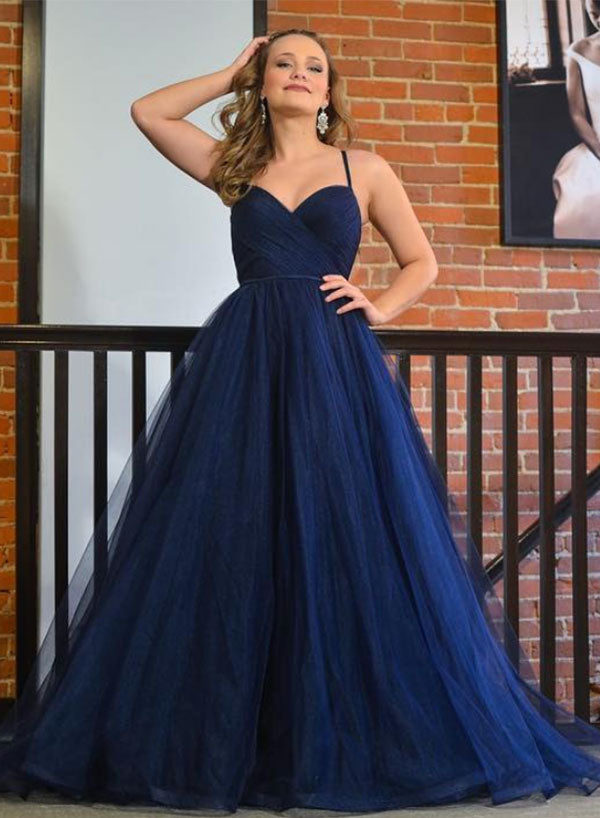 Simple blue tulle long prom dress, evening dress