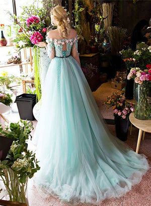 Green A line lace tulle long prom dress, green evening dress