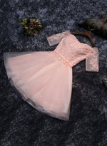 Pink tulle lace short prom dress, homecoming dress