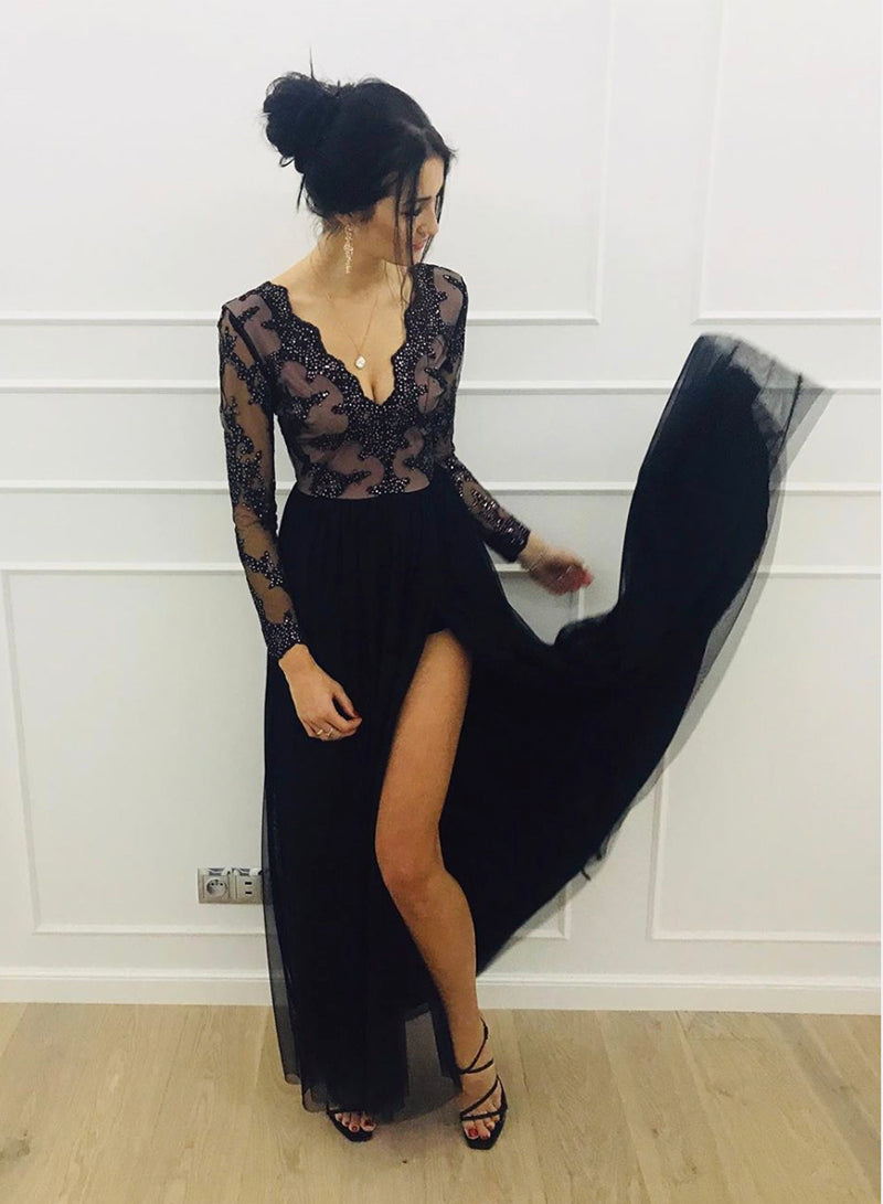 Black v neck tulle long sleeve prom dress