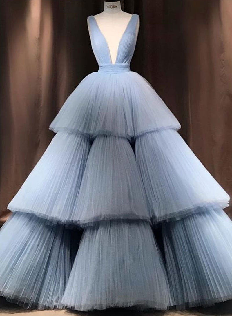 Blue v neck tulle long prom gown, formal dress