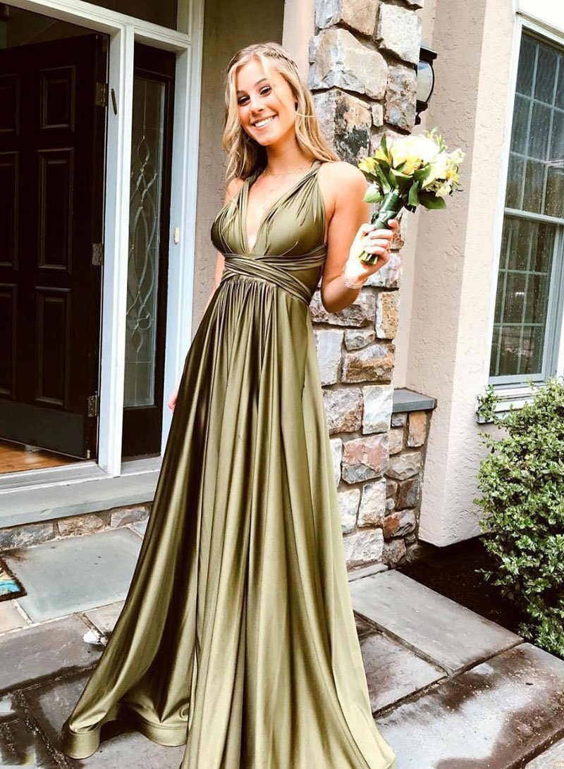 Simple v neck long prom dress, simple evening dress