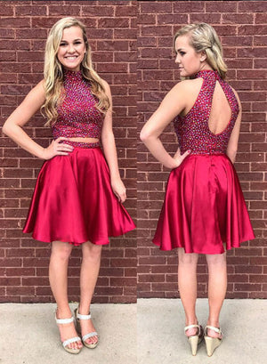 Red two pieces short prom dress, red homecoming dress