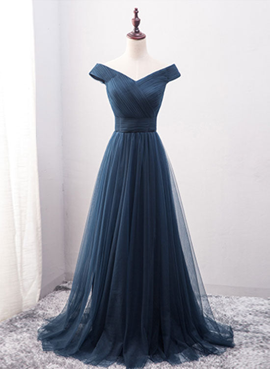 Simple blue tulle long prom dress, blue evening dress