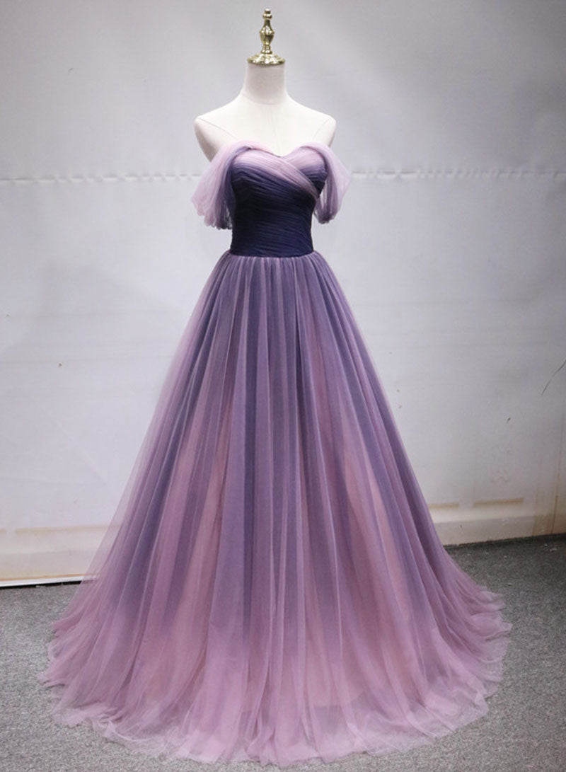 Stylish tulle long prom dress, evening dress