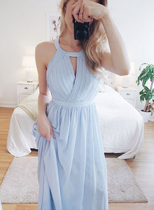 Light blue chiffon long prom dress, evening dress
