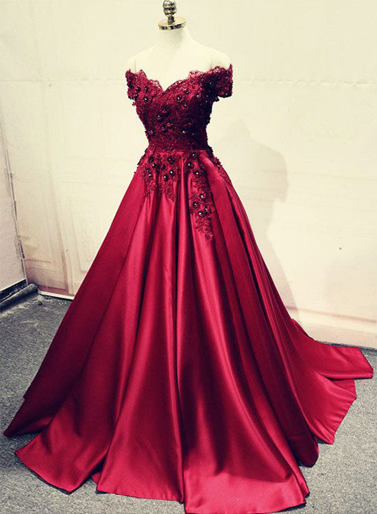 Burgundy lace long prom dress, off shoulder evening dress