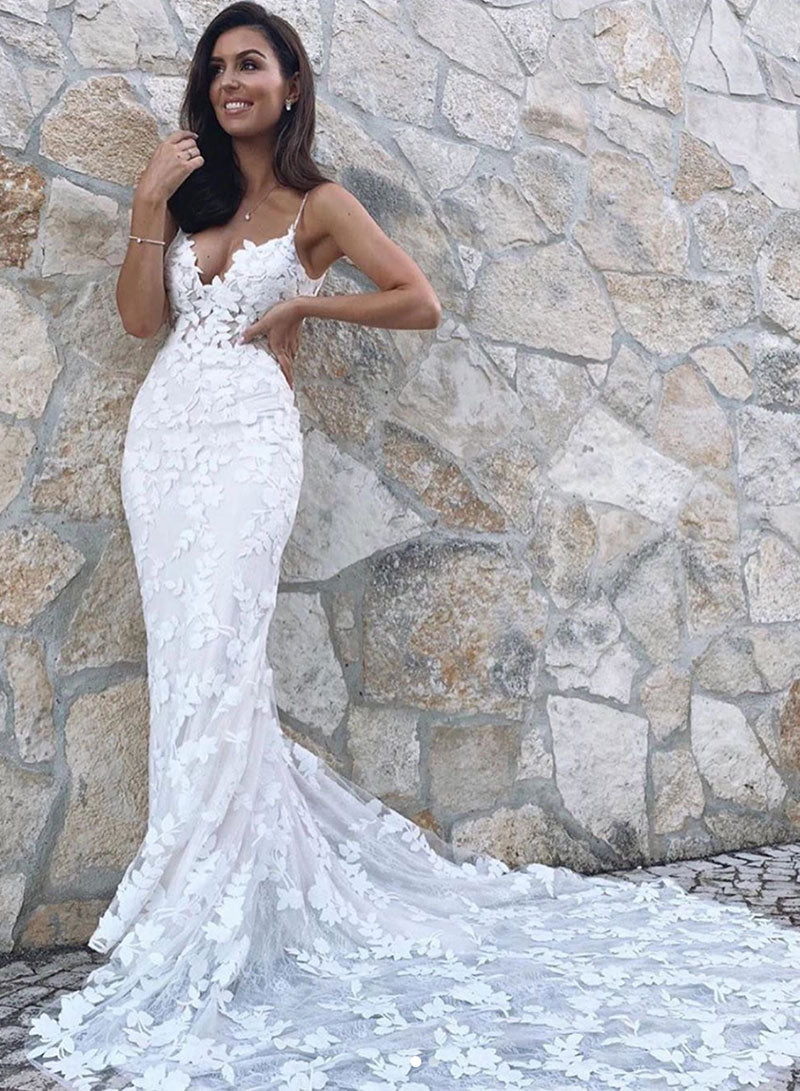 White applique long mermaid prom dress evening dress