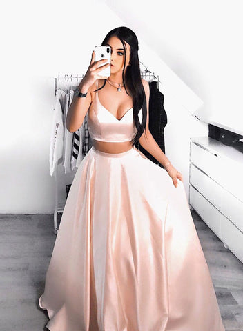 Pink two pieces satin long prom dress party dress