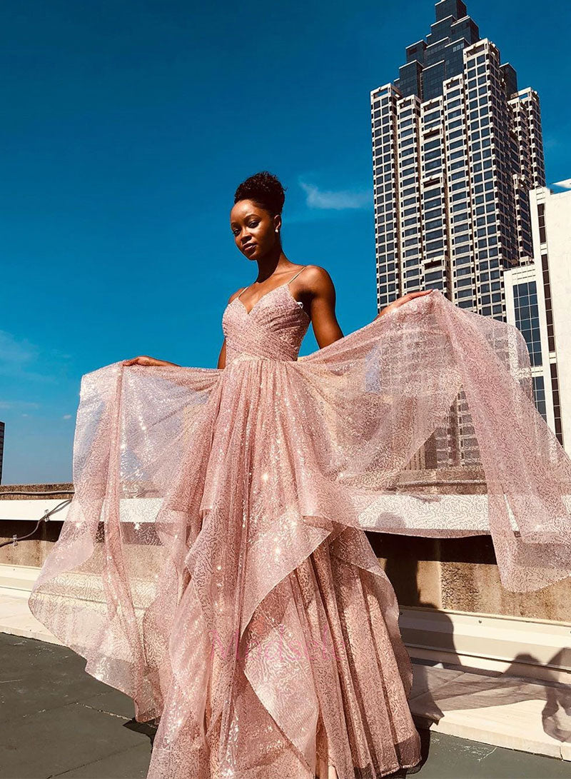 Pink tulle sequins long prom dress pink party dress