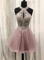 Cute tulle lace short a line prom dress cocktail dress