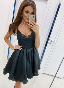 Cute black lace short prom dress, homecoming dress