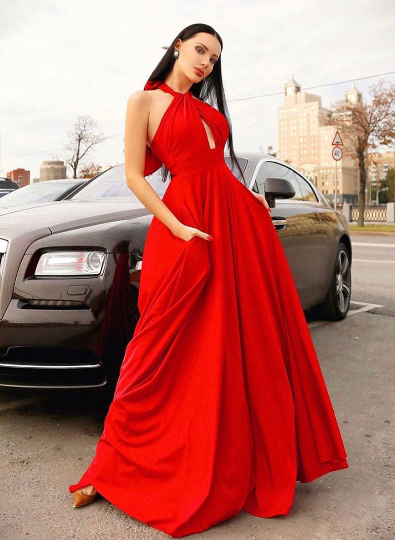 Stylish red hanging neck long prom dress, red evening dress
