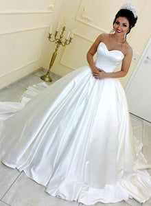 White sweetheart neck satin long prom dress, wedding dress