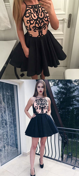 Cute black short prom dress, homecoming dress