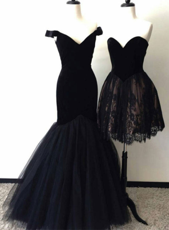 Black mermaid tulle long prom dress, lace homecoming dress