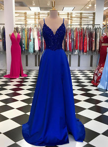 Royal blue v neck lace long prom dress, evening dress