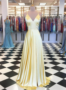 Yellow v neck satin long prom dress, evening dress