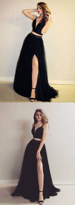 Black two pieces long prom dress, black evening dress