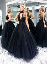 Simple black round neck long prom dress, evening dress