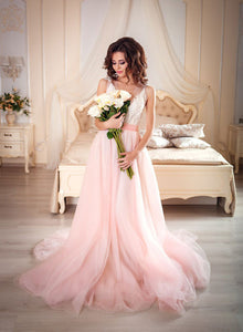 Pink v neck lace tulle long prom dress, pink evening dress