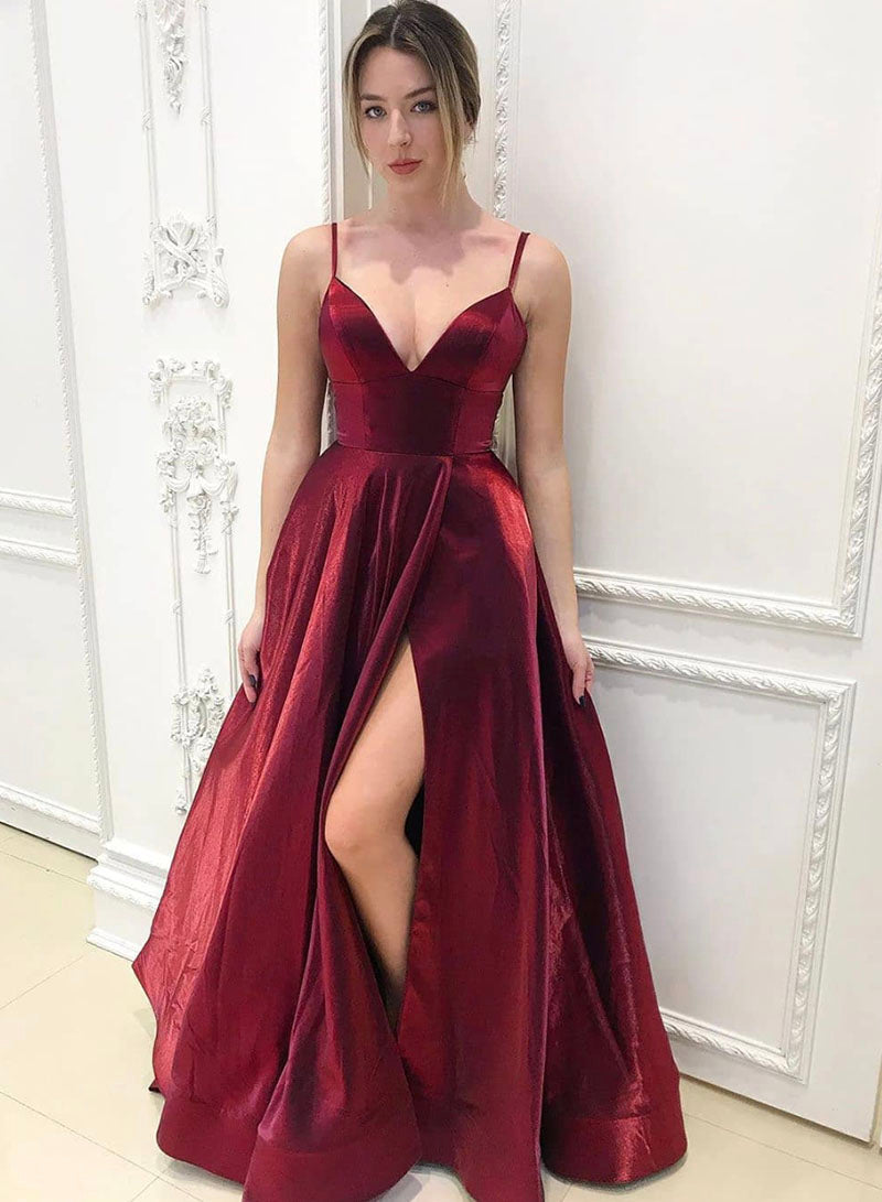 Burgundy v neck satin long prom dress