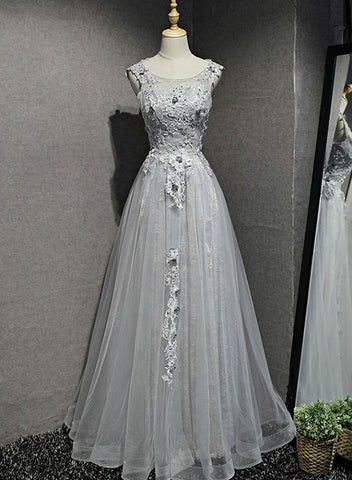 Gray round neck lace tulle long prom dress, lace evening dress