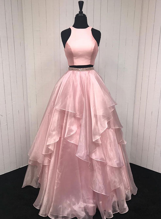 Pink two pieces long prom dress, evening dress