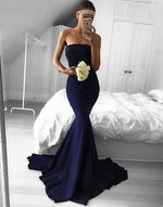 Dark blue strapless mermaid long prom dress, evening dress