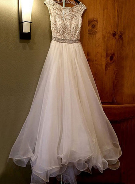 Elegant white A line lace long prom dress, lace evening dress