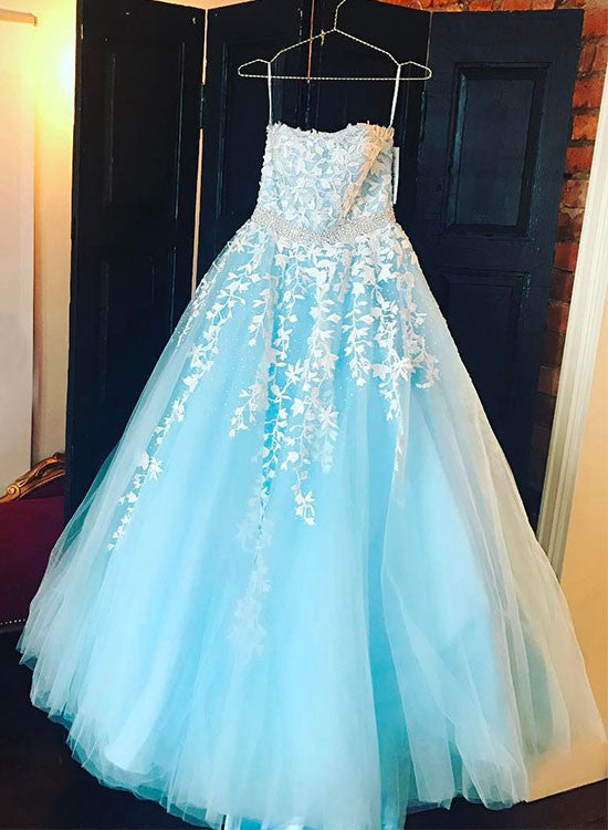 Ice blue A line tulle lace long prom dress, evening dress