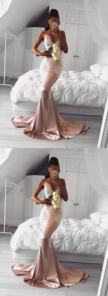 Pink v neck lace long prom dress, mermaid evening dress