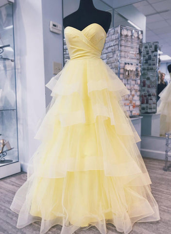 Yellow sweetheart neck long prom dress, yellow evening dress