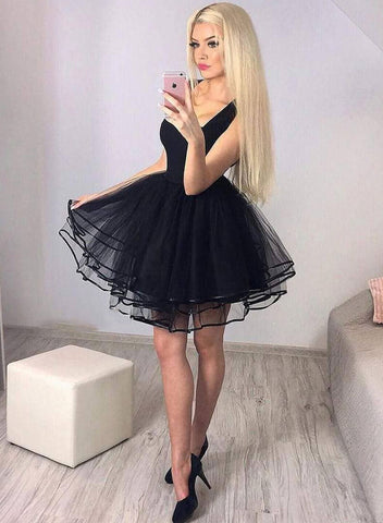 Cute black tulle short prom dress, homecoming dress