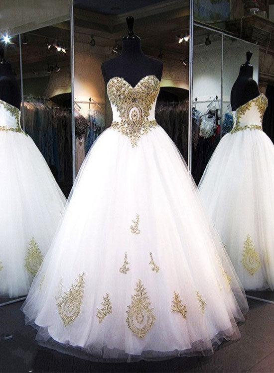 719970526ff White and gold lace long prom gown