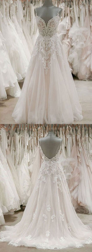 Custom made v neck tulle lace long prom dress, evening dress