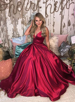 Simple burgundy v neck satin long prom dress, evening dress