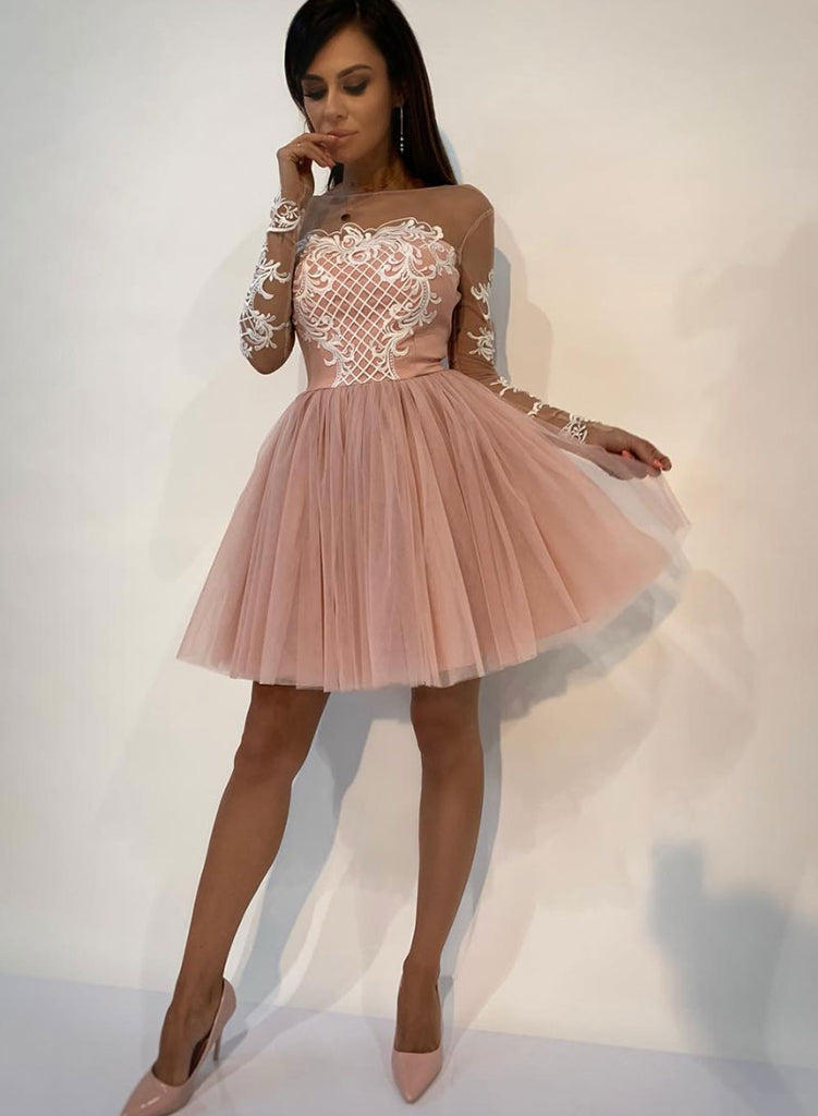 f6c2b2928e89 Pink lace tulle short prom dress, pink evening dress – trendty