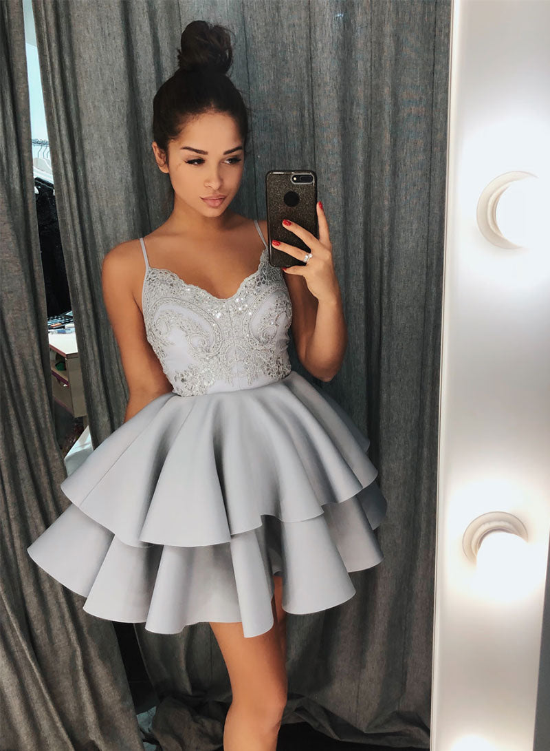 Gray v neck lace short prom dress, homecoming dress