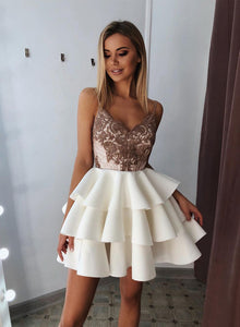 Cute v neck lace short prom dress, white evening dress