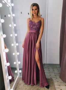 Stylish v neck satin lace long prom dress, evening dress