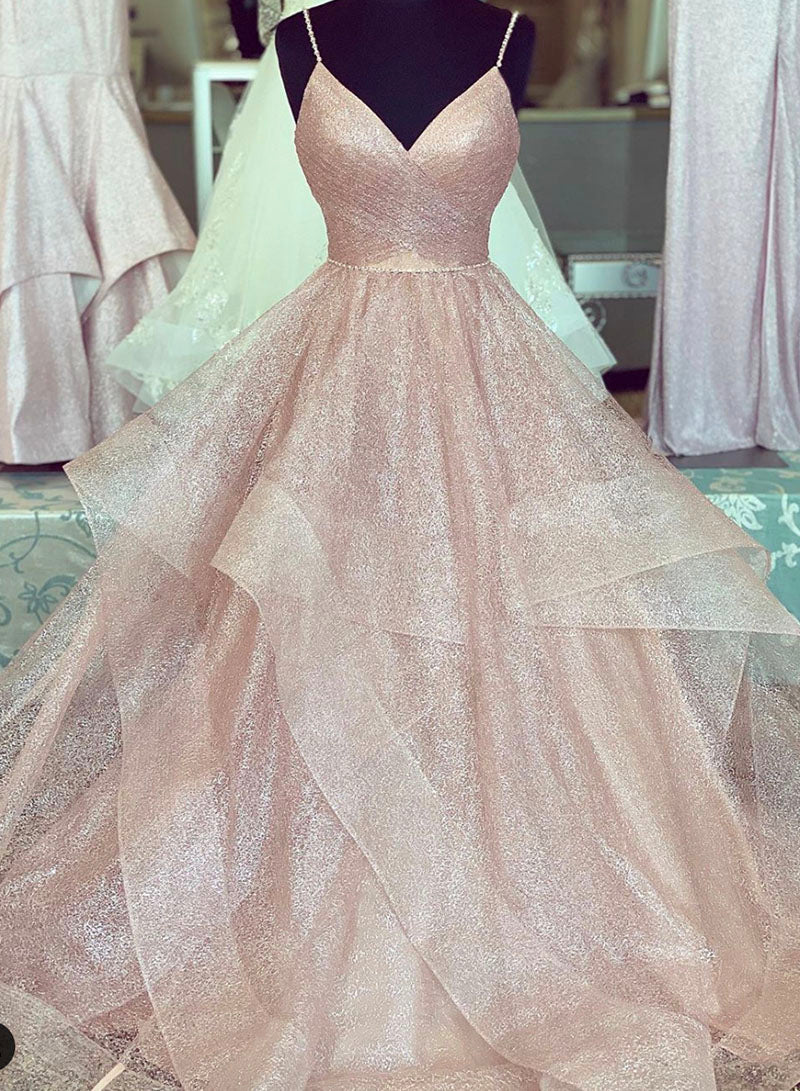 Link pink v neck tulle long prom gown evening dress